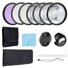 Andoer professionnel 58mm 52mm caméra UV CPL FLD Kit de filtres dobjectif et gros plan Macro accessoire Set accessoires de photographie