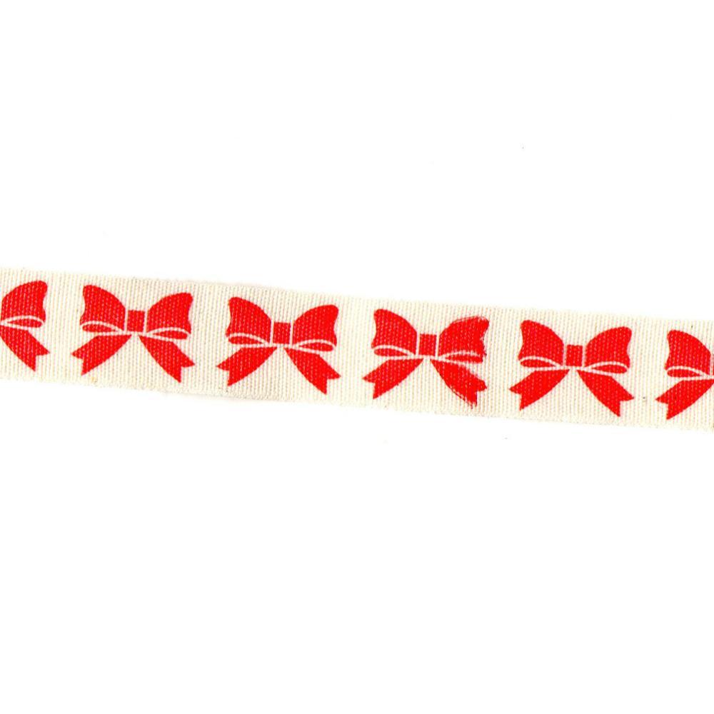 5yard Printed Cotton Ribbon White star 15mm Handmade Gift Present Package DIY