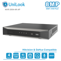 UniLook 4K Resolution 4CH POE NVR NVR3004 4K 4P 4 Channel Plug&Play Network Video Recorder H.265 4 POE Ports 1 ch HDMI Up to 8MP