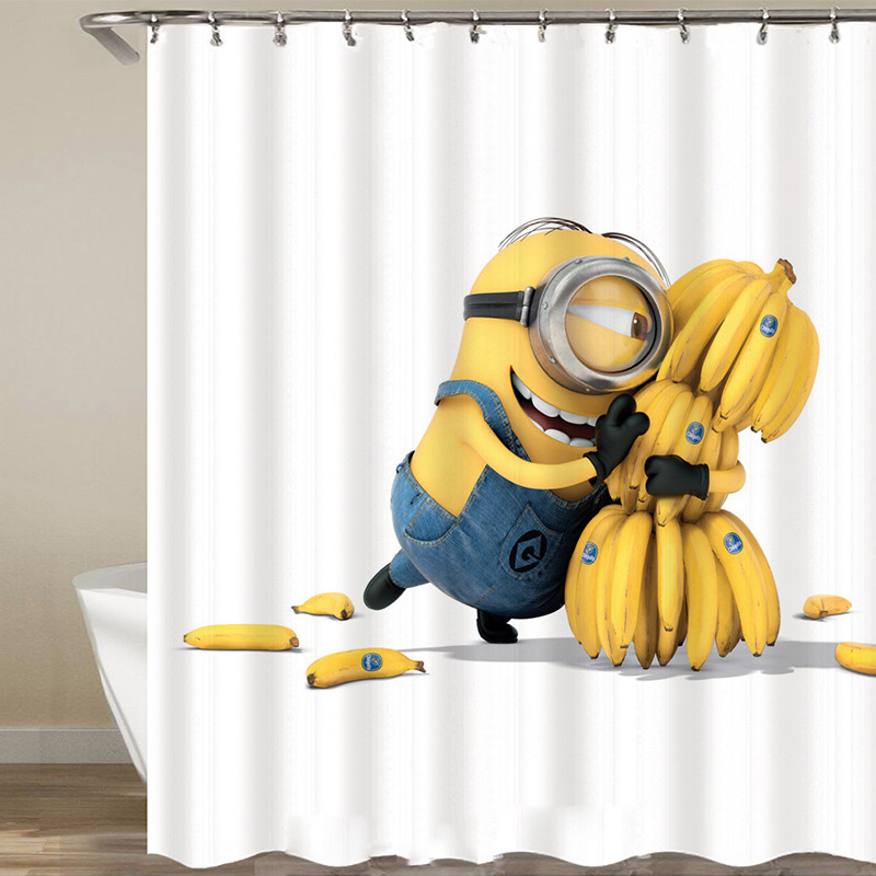 Funny Shower Curtain For Bath Minion Series Polyester Fabric White Waterproof Bathroom Curtains With Hooks Kids Bathtub Curtain Shower Curtains Aliexpress