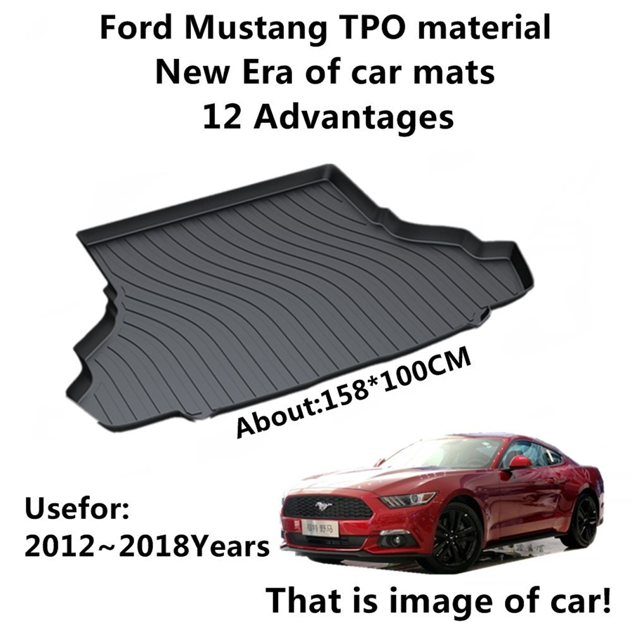YJ99 Custom Fit For Ford Mustang 2012 2013 2014 2015-2018 TPO Car Cargo Rear Trunk Mat Boot Liner Tray All Weather Waterproof