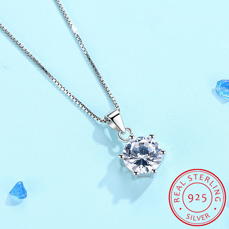 925 Sterling Silver Necklace AAA CZ Zirconia Pendant Necklace For Women Chain collares haddock Choker S-N46
