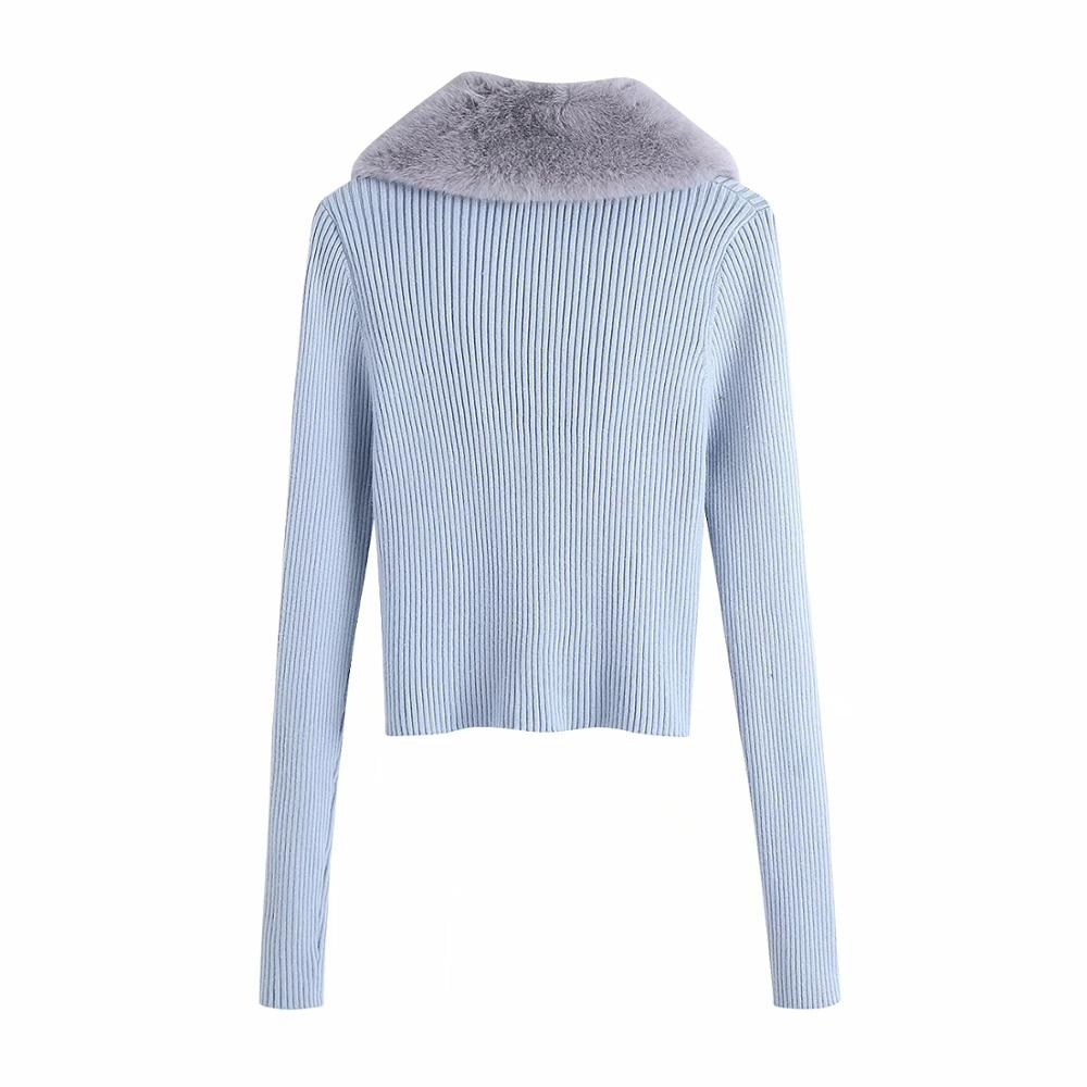 Women Fashion Patchwork Faux Fur Knitted Cardigan Sweater Vintage With Tied Female Long Sleeve Outerwear Chic Tops 6