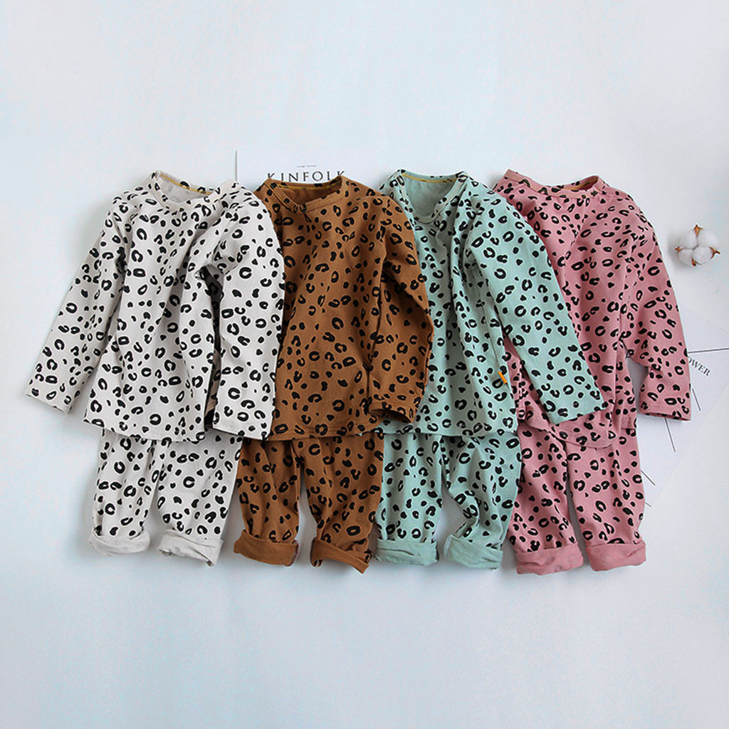 Outfits Nightwear Pajamas Sleepwear Leopard-Pants Toddler Baby-Girls Kid Children Tops title=