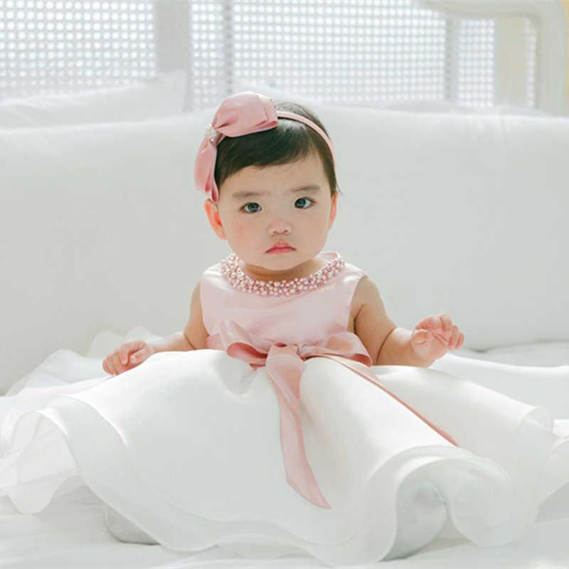 Vestido de bautismo blanco Formal para niñas pequeñas, vestido de princesa bonito para Ropa de fiesta de cumpleaños de 1 y 2 años, vestido de baile de bautizo, vestidos de tutú