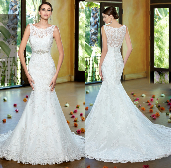 Delicate Sleeveless Mermaid Scoop Neck Appliques Wedding Dress Floor Length Long Court Train Hollow Back Bridal Gown 2016