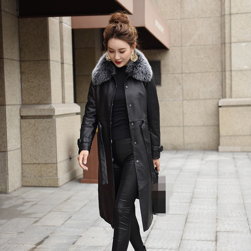 High Quality Luxury Womens Sheepskin Jacket Fashion Solid Genuine Leather Outerwear Female Winter Long Thick Warm Coat M-3XL