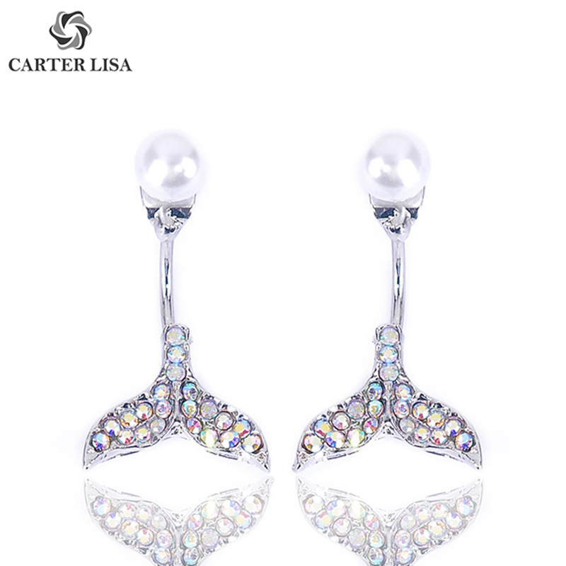 CARTER LISA Unique Sea Dolphin Tail Rhinestone Pearl Stud Earings For Women Ethnic Bohemian Jewelry Party Personality Gifts