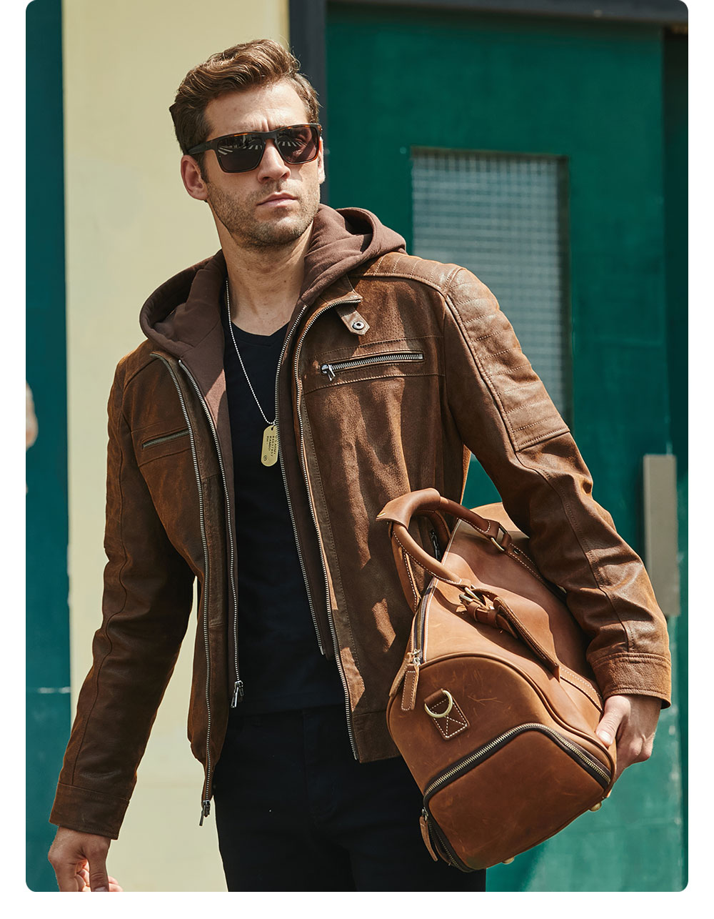 H50297e3a03524c29bec83df6309cbf83v New Men's Leather Jacket, Brown Jacket Made Of Genuine Leather With A Removable Hood, Warm Leather Jacket For Men For The Winter