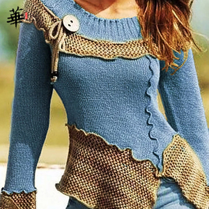 Image 3 - Vintage Sweater Women Knitted Long Sleeve Sweaters for women Tops Fall Winter Clothes Women 2020 Pullover Jumper Woman Sweaters