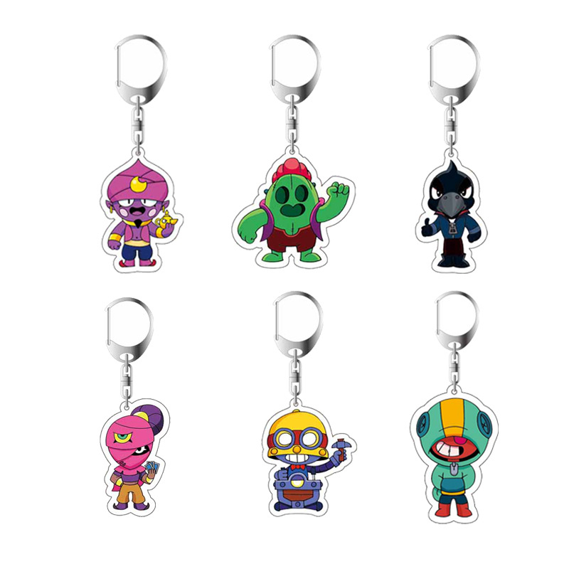 Brawl Game Anime Figure Cartoon Stars Heroes Keychain Cute Cartoon Acrylic KeyChain Collection Action Toys Figura Child Gifts