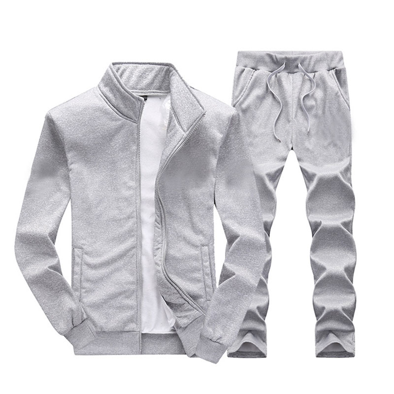 2020 Men Tracksuit Casual Solid Zipper Sets Two Pieces Jackets + Pants Male Sportswear Sporting Suits Outwear Custom Your Logo