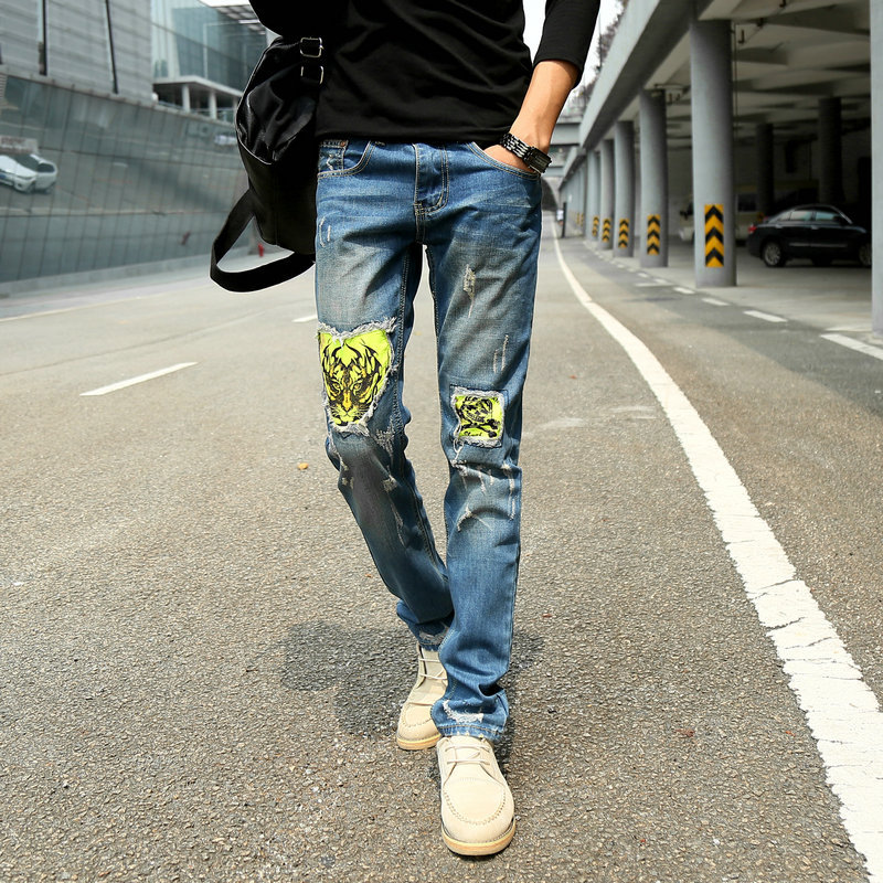 Men's Cool Printed Jeans Men Youth Slim Fit Straight-Cut Long Pants Men's Trousers Korean-style Trend Men'S Wear