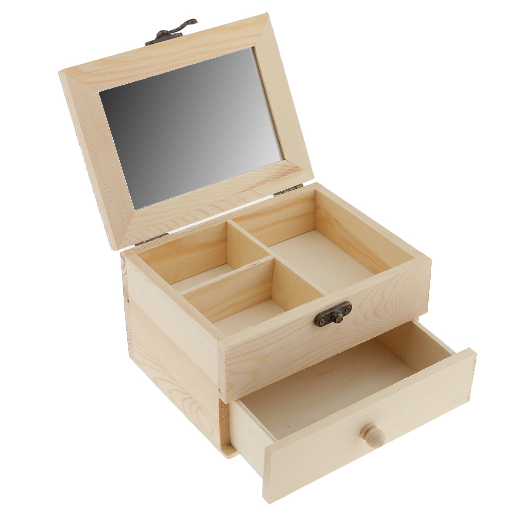 2 Tiers Plain Unpainted Wooden Jewelry Box Organizer Storage Container Unfinished Drawer Case DIY Crafts