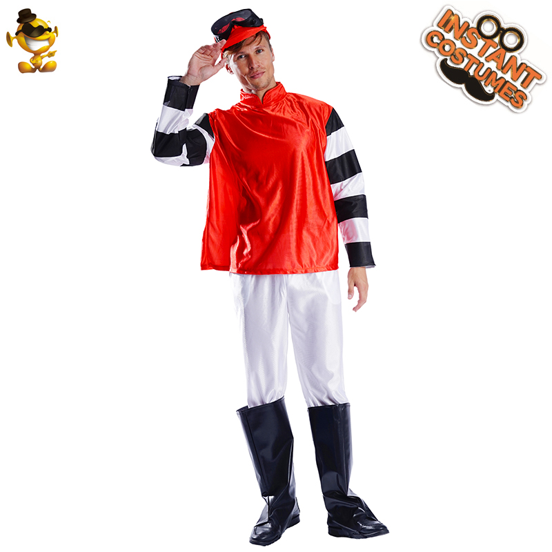 2020 New Arrival Adult Hard Rider Horse Clothes Cosplay Halloween Costume for Adult Men Design Red Jockey Party Costume Outfit