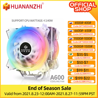 HUANANZHI A600 4 أنبوب حراري من النحاس LED وحدة المعالجة المركزية مسند تبريد للاب توب مدمج به مكبر صوت مروحة المبرد هادئة مروحة مزدوجة برودة المبرد
