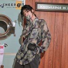 Blouses Shirts Ladies Top CHEERART Button-Up-Collar Long-Sleeve Vintage Korean Women
