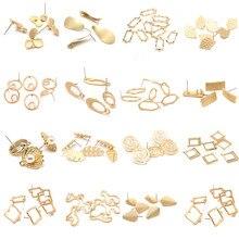 Brincos jóias fazendo encontrando acessórios liga de zinco ouro metal folhas brincos base conectores linkers 10 pçs/lote atacado
