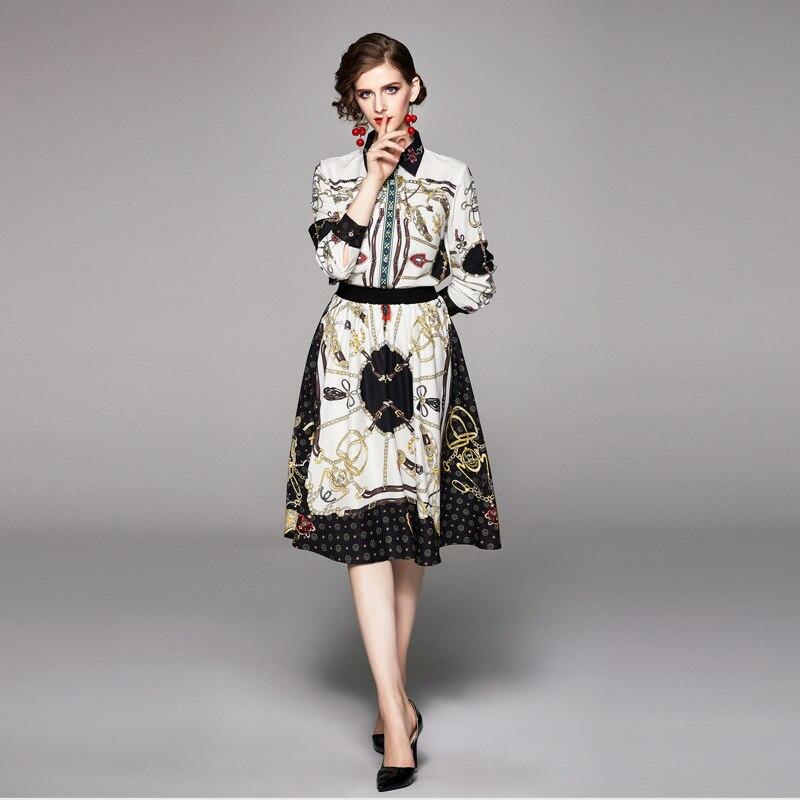 Photo Shoot 2019 New Style Autumn Clothing Fashion Elegant French Long Sleeve Shirt + Printed Half-length Skirt Two-Piece Set