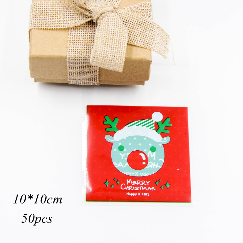 1set House Shape Christmas Candy Gift Bags With Ropes Xmas Tree Cookie Bags Merry Christmas Guests Packaging Boxes Party Decor 8