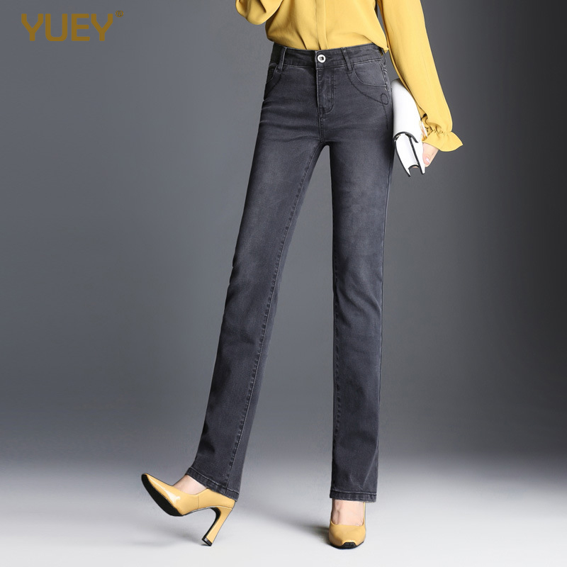 Brand Women Jeans Straight Long Retro Black Gray High Waist Durable Washed Jeans Female Elastic Thick For Autumn Winter Trousers