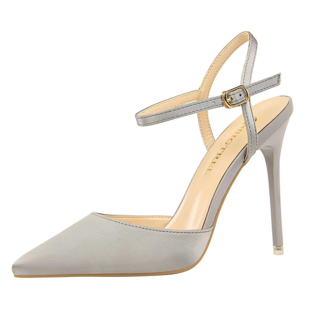 Sandálias de cetim de seda das mulheres stiletto sapatos de salto alto apontou dedo do pé estilingue tornozelo cinta fivela escritório senhora festa sapatos k0217