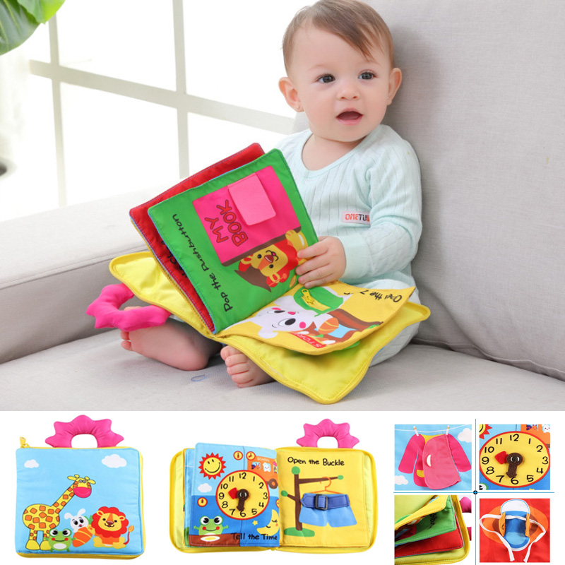 12 Pages Educational Baby Toys Hot Infant Kids Early Development Cloth Books Cartoon Animal Learning Unfolding Activity Books