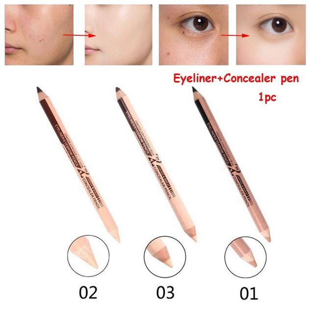 Professional Hot Sale Double Head Eyebrow Pen Eye Liner Pencil Concealer Stick Pencil Long Lasting Makeup Cosmetics tool