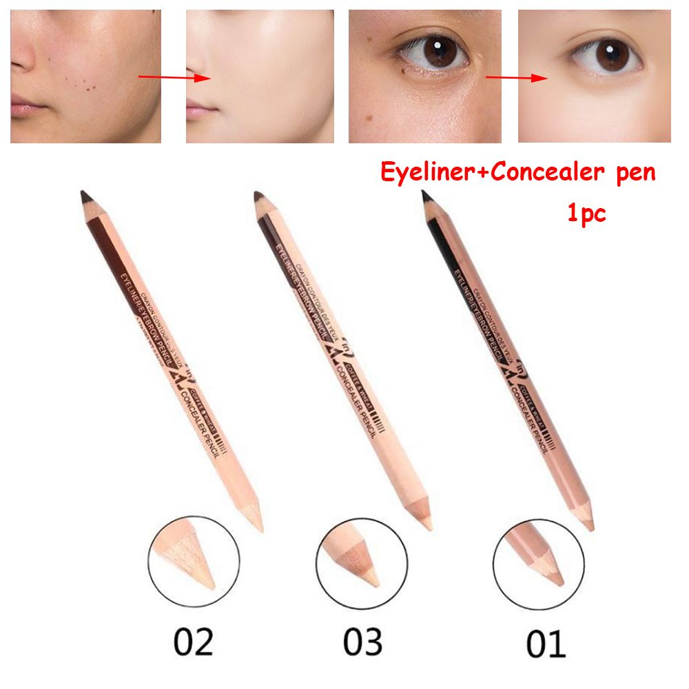 Professional Hot Sale Double Head Eyebrow Pen Eye Liner Pencil Concealer Stick Pencil Long Lasting Makeup Cosmetics tool image