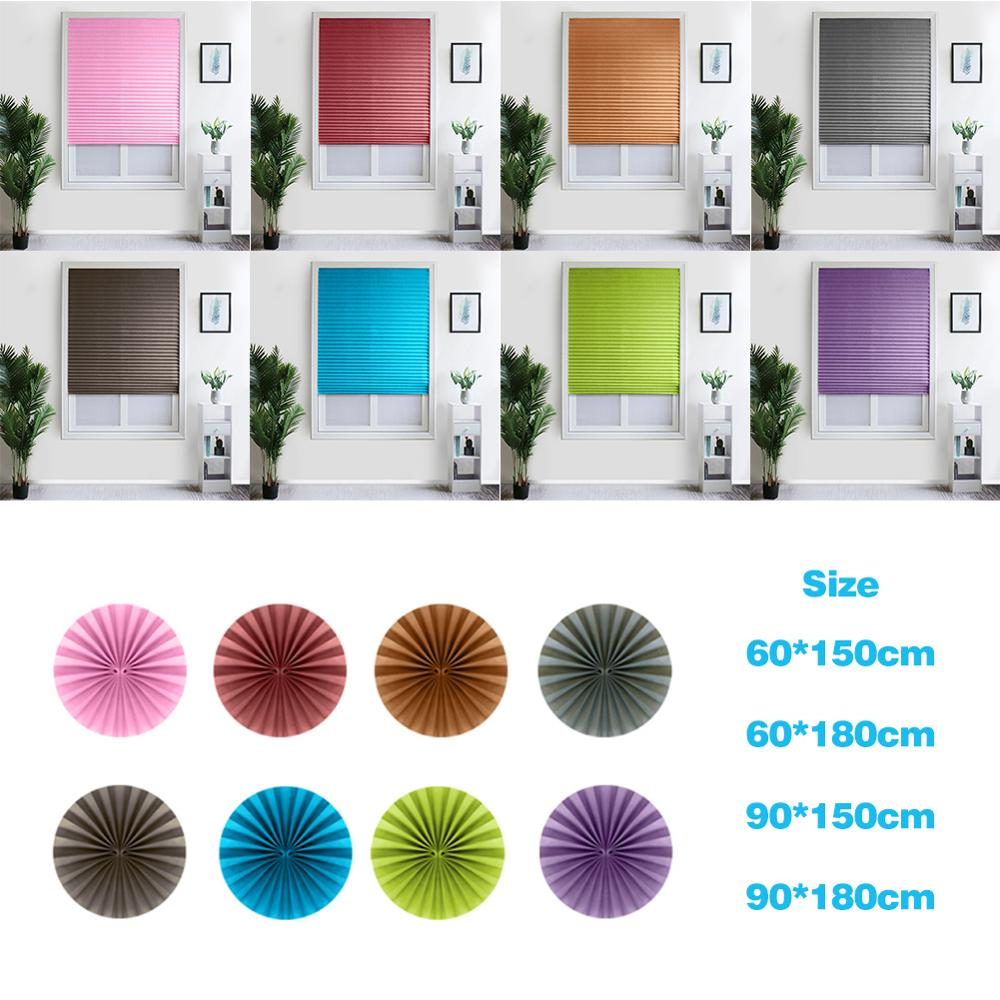 Self-Adhesive Pleated Blinds Curtains Half Blackout Bathroom Windows Curtains Shades Balcony Living Room Home Window Decor