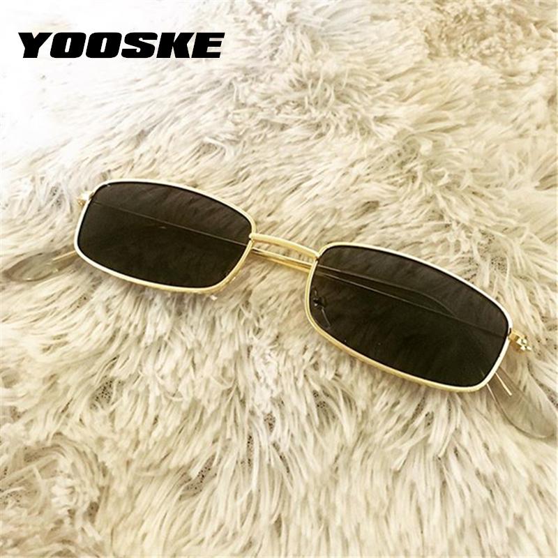 YOOSKE Retro Sunglasses Men Small Rectangle Sun Glasses Retro Shades for Women Metal Frame Black Pink Eyewear