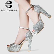 BONJOMARISA Big Size 31-43 Brand Ladies High Heels Sandals Fashion Bling Platform Summer Sandals Women Party Ol Sexy Shoes Woman free shipping shoes woman 2018 summer flock brand ol high heeled woman sandals frosted with fish mouth ladies sexy sandals