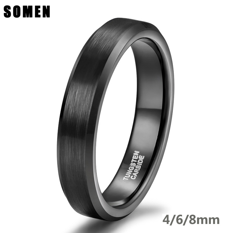 8mm Tungsten Carbide Polished with Double Brushed Lines Wedding Band Ring for Men or Ladies