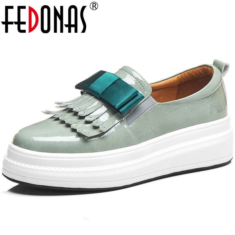 FEDONAS  Women Platforms Flats Butterfly Knot Bowtie Slip On Cow Leather Brand Design Casual Shoes Spring Summer Shoes Women