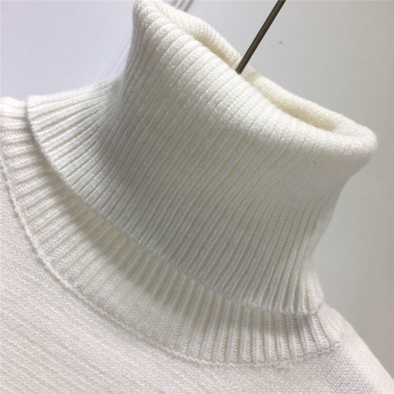 Милый женский белый вязаный свитер с высоким воротом кавайный