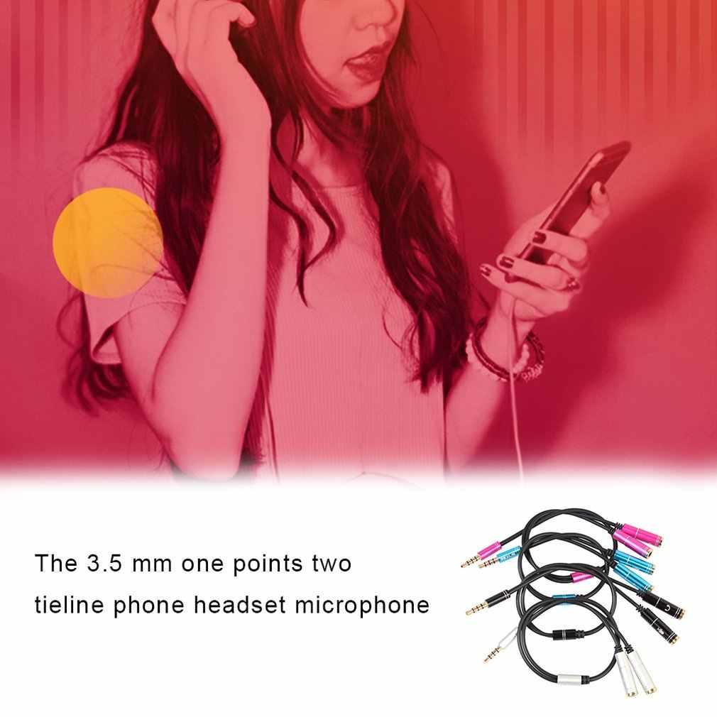 3.5mm שקע אוזניות הארכת כבל אוזניות + מיקרופון אודיו ספליטר אלומיניום מעטפת עבור טלפון נייד עבור PS4 משחקי אוזניות