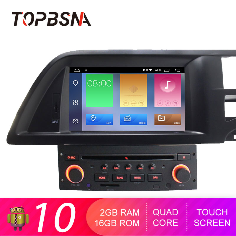 TOPBSNA 1 Din Android 10 Car DVD Player For Citroen C5 Multimedia GPS Navigation Radio Mirror link WIFI Quad Cores GPS Navi RDS image