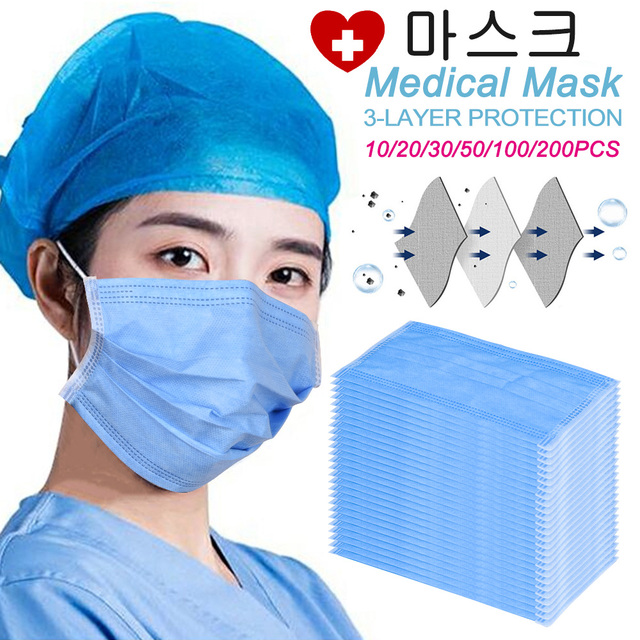 50 Pcs Disposable Medical Face Mask 3 Layers Anti Dust Mask Surgical Mouth Korean 100pcs 마스크 Masquerade Flu Face Masks