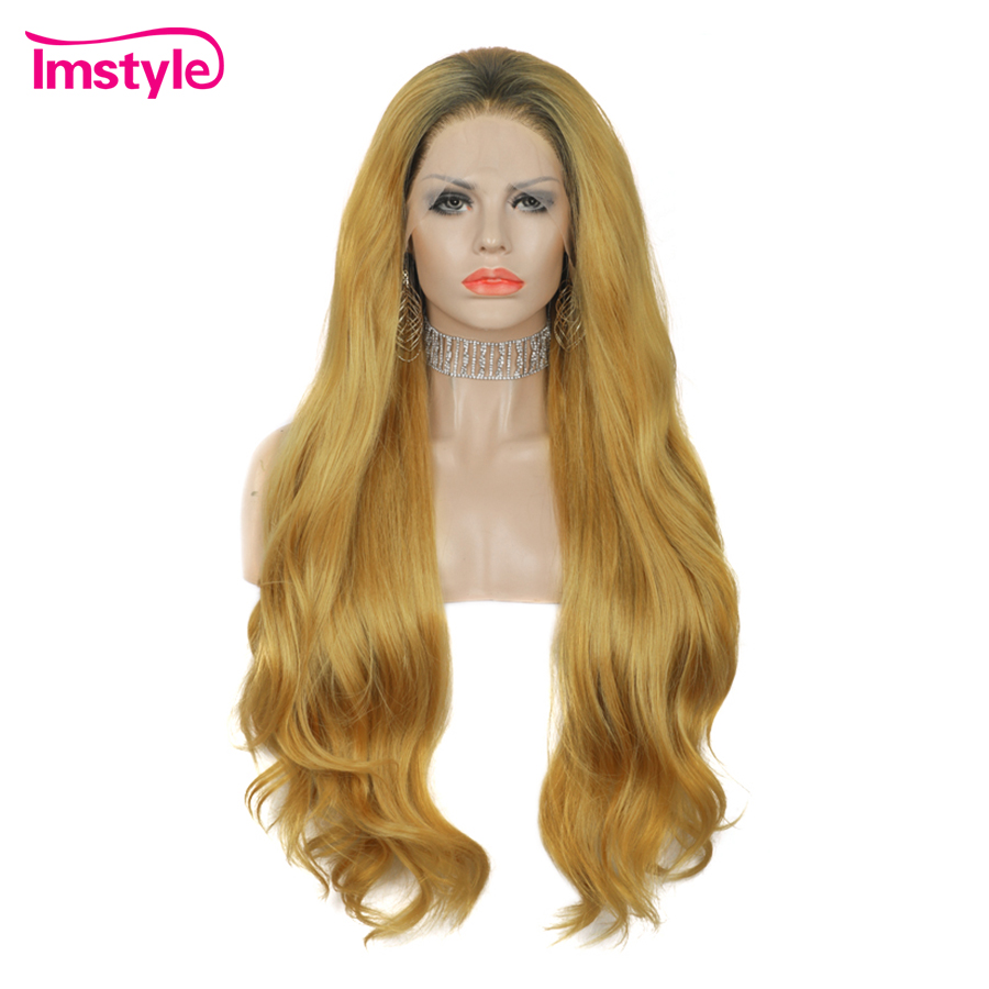 Imstyle Blonde Golden Wigs For Women Long Synthetic Lace Front Wig Heat Resistant Fiber Dark Root Natural Wavy Wig