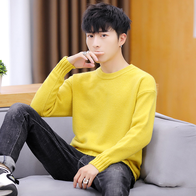 Long Sleeve Sweater Men Purple Khaki Black Blue O-Neck Winter White Yellow Red Solid Thick Pullovers Casual Mens Sweaters