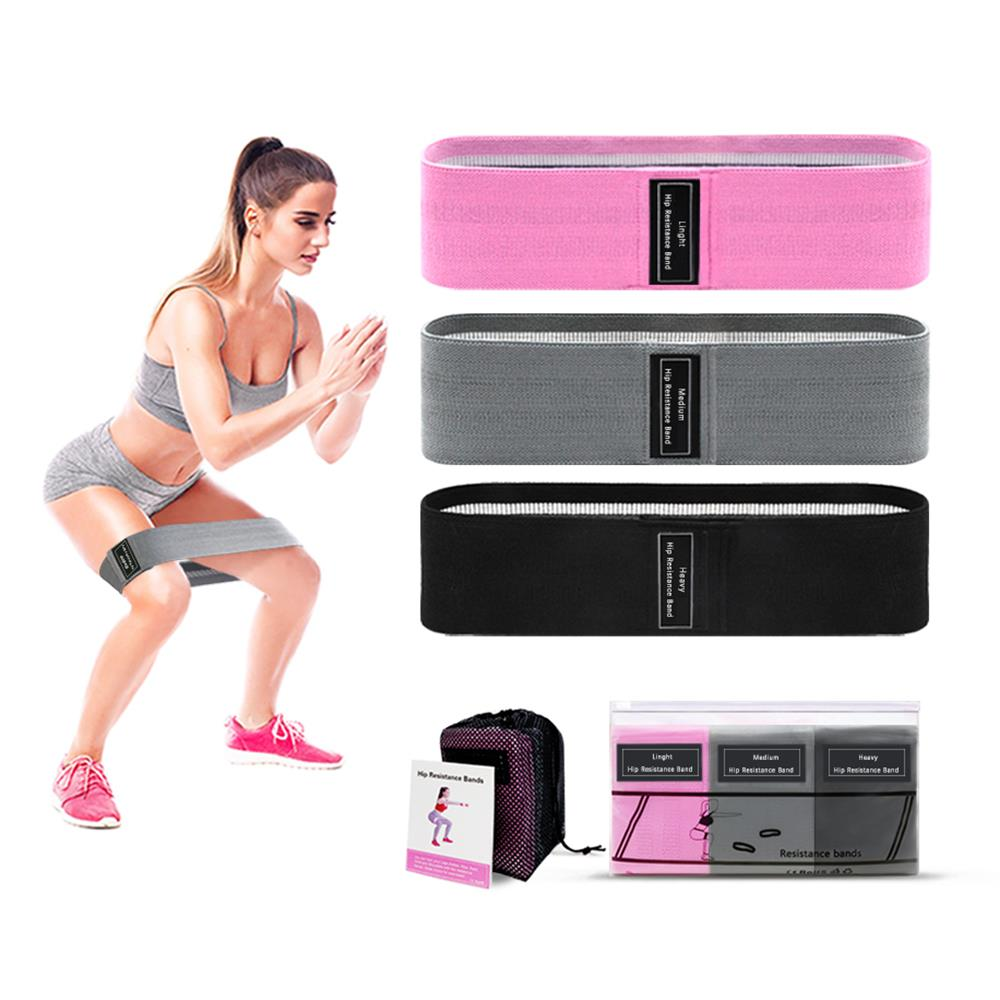 3 PCS/Set Elastic Rope Tension Band Resistance Bands Expander Gym Yoga Rope Fitness Equipment Booty Band Hip Circle Loop