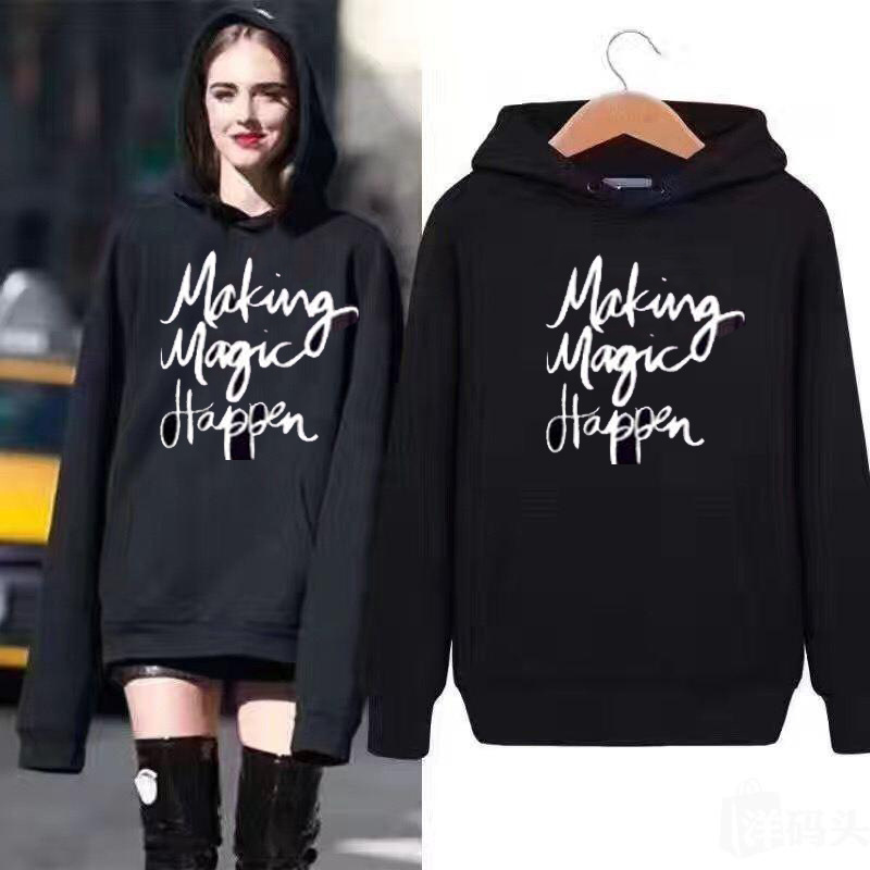 European/American Winter Warm Hoodie Print Letters Funny Women's Sweatshirt Long Sleeve Harajuku Hoodies Fashion Clothing Tops