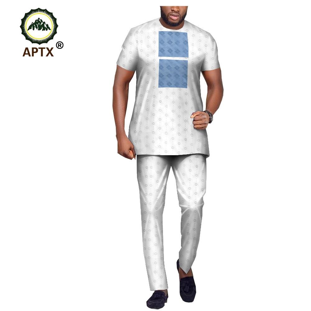 APTX Jacquard Muslim Suit For Men Tailor Made Short Sleeves O-neck Top+Full Length Pants 100% Cotton Suit T1916013