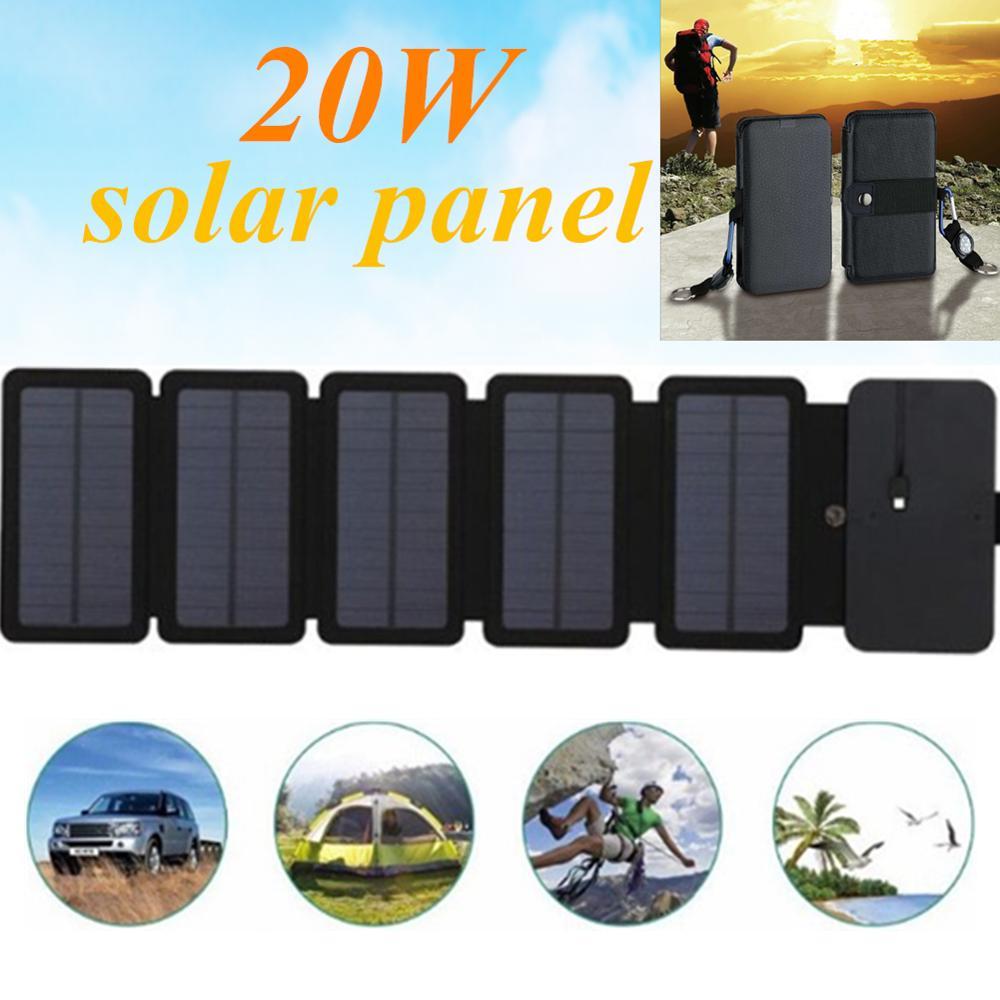 Kernuap carregador solar dobrável 20w 5v 2.1a, células fotovoltaicas e painéis solares com saída usb para dispositivos portáteis e celulares carregador de carregador
