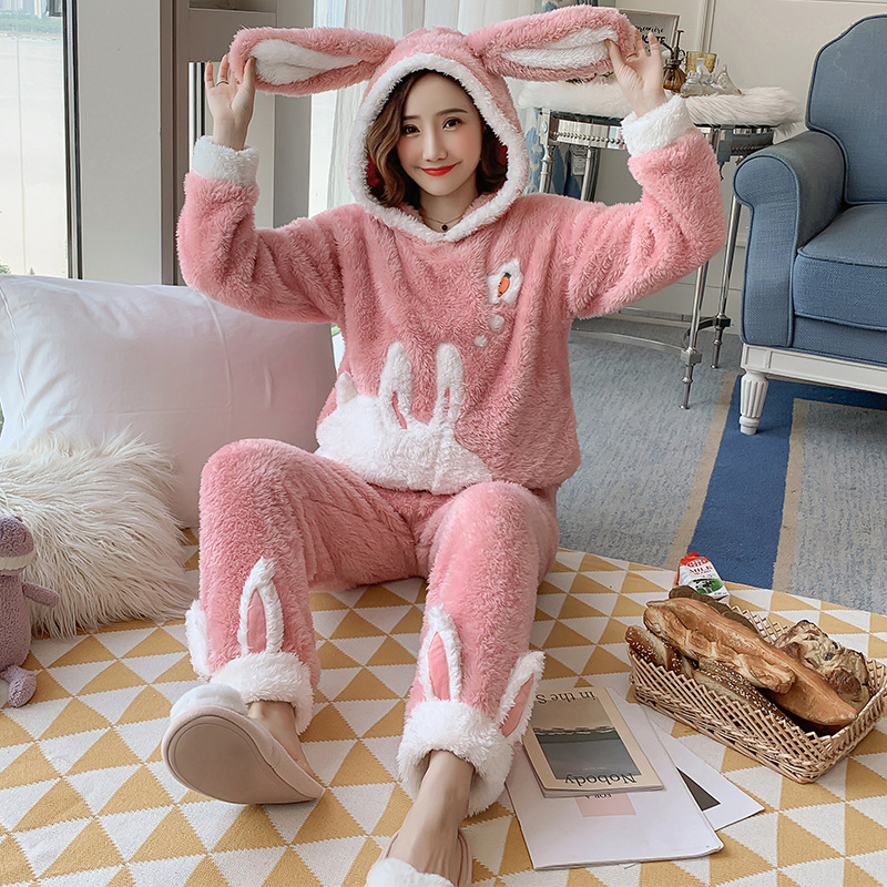 Winter Women Pajamas Sets Flannel Warm Sleepwear Pyjamas Women Nightgown Pyjama Femme Cartoon Full Sleeve Pijama Mujer Homewear