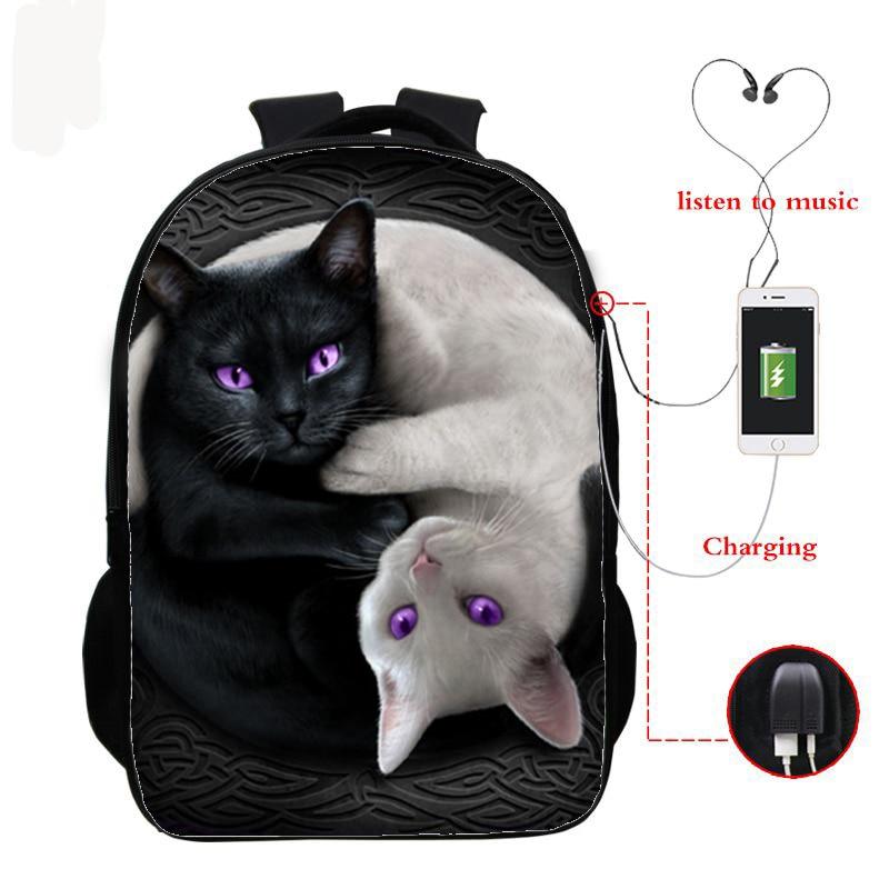16 Inch Cat Children School Bags Orthopedic Backpack Kids School Boys Girls Mochila Infantil 3d Cat Prints Bags Usb Charging