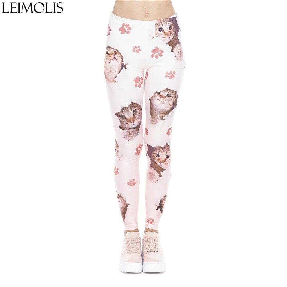 LEIMOLIS 3D Print Lovely Eggshell Cat Claw Fitness Push Up Workout Leggings Women Harajuku High Waist Punk Rock Sexy Leggins