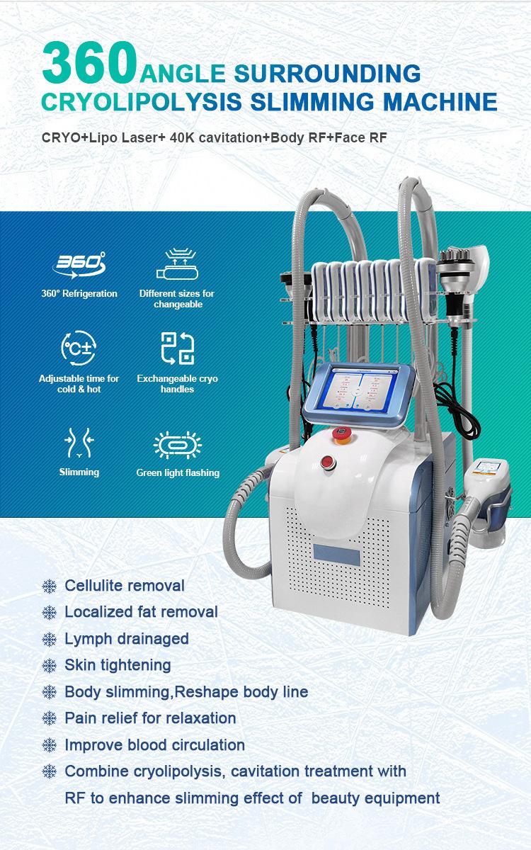 2021 new 40kHZ cavitation RF 650nm laser 360 angle surounding cryolipolysis slimming machine