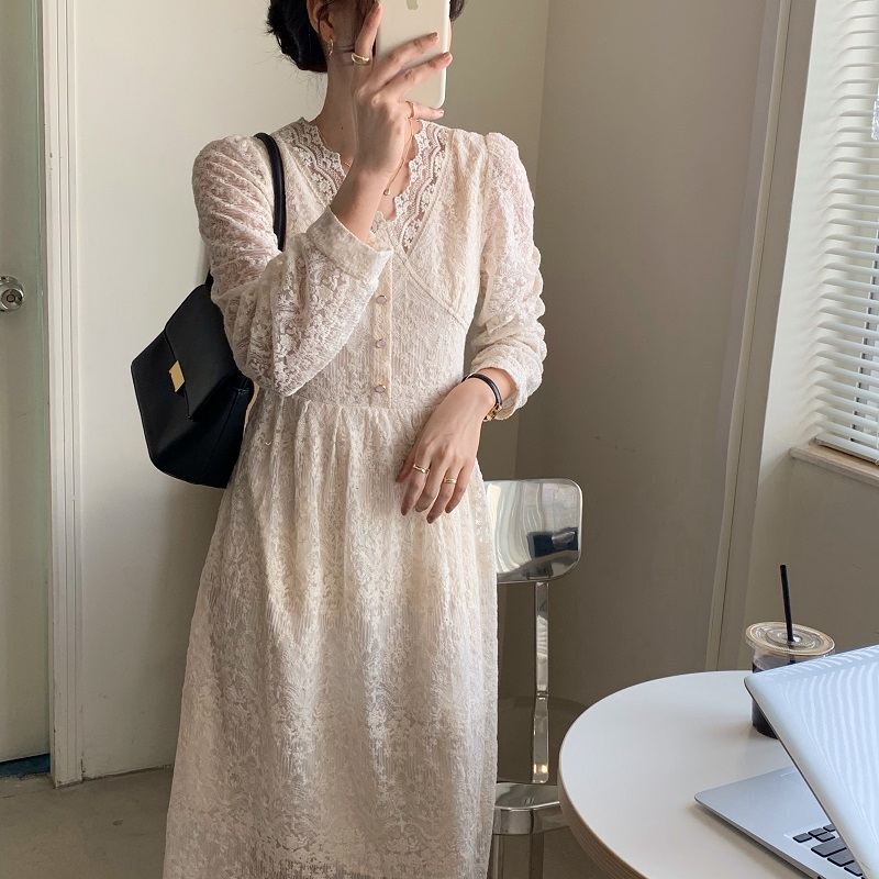 H502bdf467c664ac488571cc785bc70b0w - Spring / Autumn V-Neck Long Sleeves Lace Midi Dress