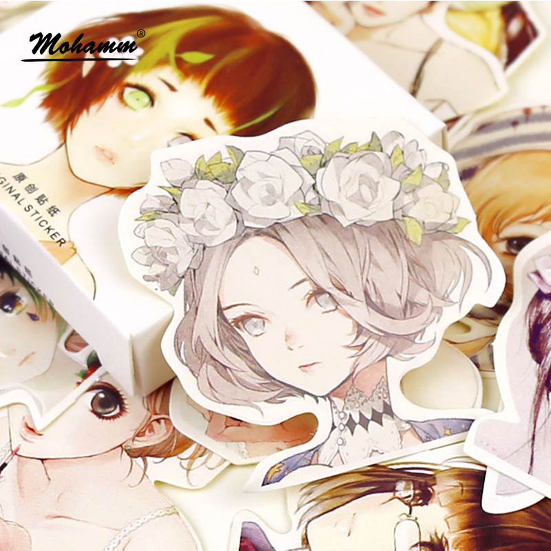 45 Pcs/box Cute Kawaii Girl Papers Stickers Flakes Romantic Love For Diary Decoration Diy Scrapbooking Sticker